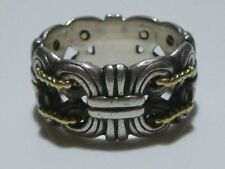 VINTAGE CAVIAR STERLING SILVER 925 750 18K YELLOW GOLD MENS WOMENS BAND RING WOW