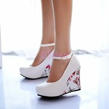 Womens High Wedge Heel Floral Lolita Grils Ankle Strap Casual Shoes White US8