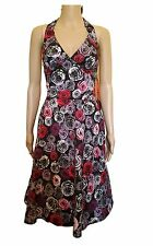 New Hell Bunny Purple And Black Floral Style Pinup Kitsch Dress In S&XL   RRP£40
