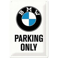 BMW Parking Only embossed steel sign 300mm x 200mm  (na)