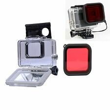 45M Waterproof Housing Case + Diving Red Lens Filter For Gopro Hero 5 4K Camera