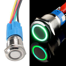 12V 5A 19mm Car Green LED Light Angel Eye Push Button Toggle Switch Plug Sales
