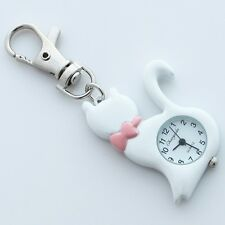 White Fashion Lovely Cat Pocket Key Rings Metal Pendant Watch Gifts GL58KW