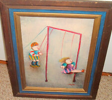 J. ROY BAZ FRENCH ARTIST OIL PAINTING KIDS ON SWINGS STRETCHED CANVAS FRAMED