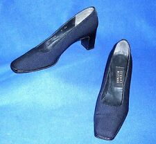 MINTY 8 AA SILVER STUART WEITZMAN NAVY BLUE PATENT TRIM FABRIC PUMPS WOMENS SHOE