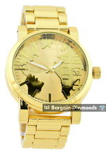 mens big gold tone world map clubbing watch gold dial link bracelet designer