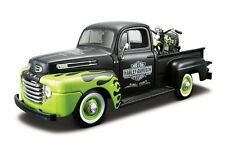 FORD F-1 PICKUP Truck 1/24 with HARLEY DAVIDSON BIKE Die Cast Model Car Metal