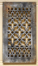 "14""x8 Vintage Gothic Cast Iron Metal Wall Floor Vent Register Grille Cover Grate"