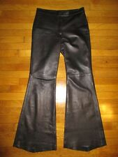 DKNY sz 10 black low-rise leather pants with wide flare leg