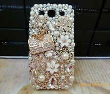 3D Alloy Luxury Gold Bag Flower crystal bling for Samsung galaxy  S6  NEW  X32
