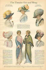 The Theater Hat And Wrap, Ladies Fashion, & Hats Vintage, 1912 Antique Print Ad,