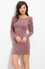 JUICY COUTURE HEATHER GREY LONDON STRIPE DRESS SMALL NEW