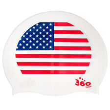 USA America Flag Silicone Swimming Cap One Size Swim Hat Mens Womens Youths