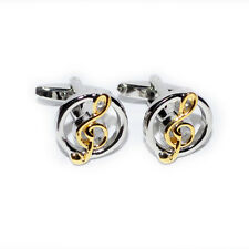 Gold Silver Treble Clef in Circle Music Notes Teacher Present GIFT Box CUFFLINKS