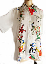 UNIQUE VINTAGE White/ irregular floral pattern Ladies blouse, UK size 10 VISCOSE