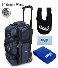 KAZE SPORTS DELUXE Denim 3 Ball Bowling Roller Bag Tote Grip Sack Shoe Towel