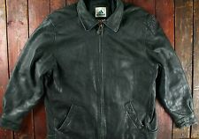 VTG 90s ADIDAS EQUIPMENT BLACK LEATHER JACKET COAT BOMBER RETRO SIZE LARGE 44