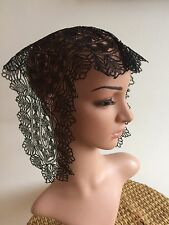Antique 1800s Black Silk Lace Fall Cap French Hand Made Chantilly Caen Pristine