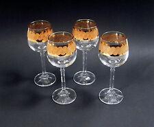 4 Dekorative kleine Weingläser mit breitem Goldrand um 1960!