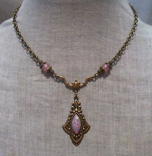 BRASS MARQUIS GLASS PINK FIRE OPAL ROSE FLEURY DECO NECKLACE EDWARDIAN VICTORIAN