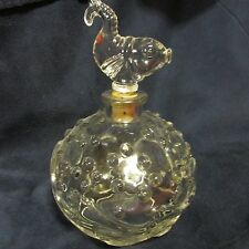 American  pressed glass perfume bottle with fish stopper, bubble & wave, @1900