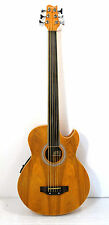 Fretless 6 String Electric Cutaway Acoustic Bass  Light-Brown, W/4 Band  EQ,