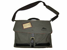 Tommy Bahama Canvas Brown Leather Laptop Brokers Island Briefcase Messenger Bag