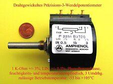 Amphenol Potenziometer 1/10/20 K-Ohm +/- 3% 5 W. 3 Umdrehungen Elektronische Bau