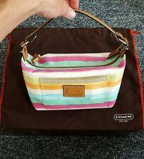 Coach handbag Hamptons watercolor multicolor stripes cloth brown leather strap
