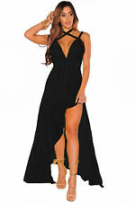 Abito lungo aperto spacco nudo aderente Scollo Chiffon Cut-Out Slit Maxi Dress L