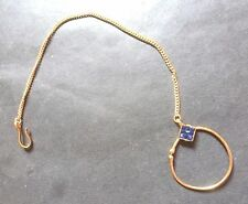 Indian Gold Plated Blue Bead setting Long Chain Nose Ring Bridal Set