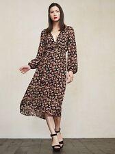REFORMATION x Jeanne Damas Callado Black Floral Midi Dress Sz 0 / XS *MINT*