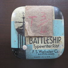 Battleship Typewriter Ribbon Tin Can Advertising Container Royal No. 10 Vintage