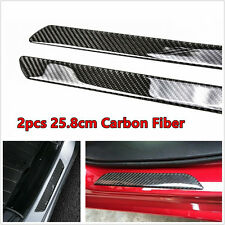 2pcs Real Carbon Fiber Trim Car Scuff Plate Door Sill Cover Protector Moudling