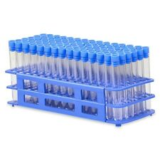 90 Tube - 13x100mm Clear Plastic Test Tube Set with Blue Caps and Rack