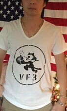 VTG. WWII US NAVY USN VF-3 FELIX THE CAT PILOT FLIGHT HAND PAINT STENCIL T SHIRT