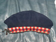 Vintage Basque Beret, 100% Wool Navy Blue w /Checkered Band Curling Hat