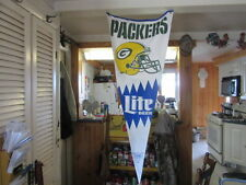 GIANT MILLER LITE BEER SIGN BANNER GREEN BAY PACKERS PENNANT GAME ROOM BAR FLAG