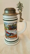 "West German beer stein BMF Bierseidel pewter lion crest military  9"" tall VTG"