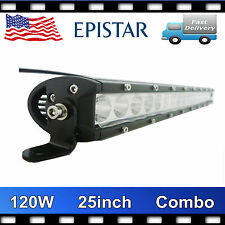 25INCH 120W SLIM SINGLE ROW LED LIGHT BAR 4WD SUV OFFROAD ATV UTE BOAT 4X4 TRUCK