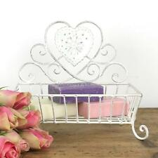 Heart soap dish vintage white shabby chic country bathroom home holder
