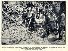 Bergungsarbeiten nach dem Erdbeben in Rognes * Historische Aufnahme von 1909