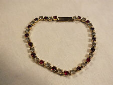 "Beautiful Clasp Bracelet Gold Tone Tennis Red Clear Rhinestones 7"" x 1/8"" Dainty"