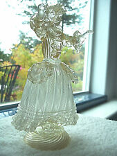 Latticino Murano Glass Ribbon Aventurine Woman Lady Dancing Figurine Vintage