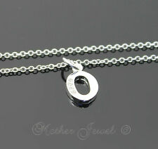 LOVELY STERLING SILVER FILLED INITIAL LETTER O SIMULATED DIAMOND GIRLS NECKLACE