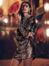 NEW Free People Tarnished Gold Sequin Tunic Dress Long Sleeve $298 Sz L