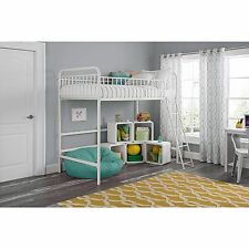 Loft Beds For Kids With Stairs Girls Teens Child Junior Twin Metal Frame White