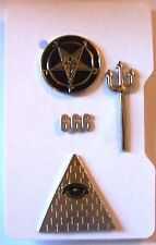 Secret Occult Society Satanic Zodiac Baphomet Illuminati 666 NWO Pin Officer Set