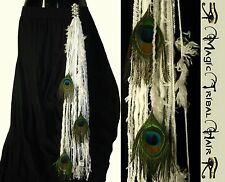 PEACOCK FEATHER Gothic Belly Dance STEAMPUNK YARN HAIR FALL Tribal Fusion Belt