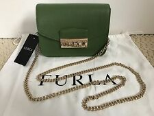 NWT Auth Furla Julia Green Saffiano Leather Flap Mini Crossbody Bag Handbag $298